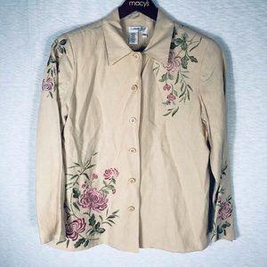 Coldwater Creek Women's Blazer Sz PM Floral Beige
